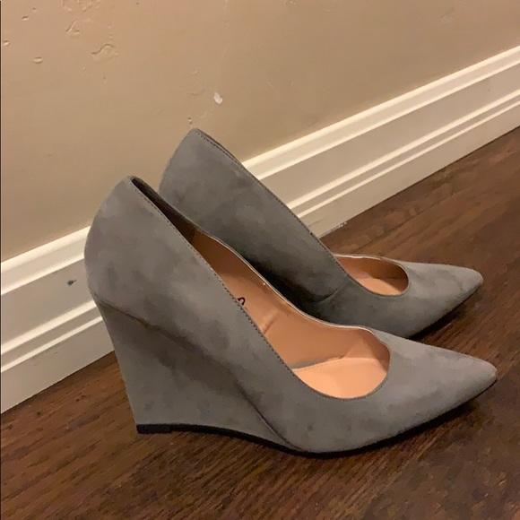 Gray Wedge Heels